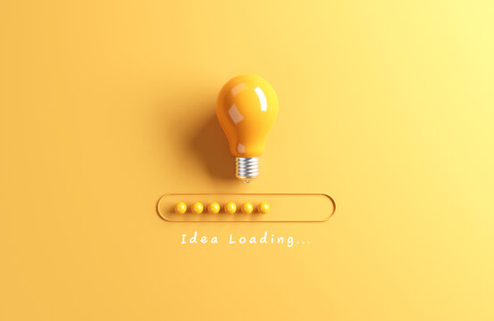Idea Loading, Loading bar almost complete with idea being processed on a light bulb on yellow background. 3d render.