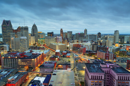 Detroit, Michigan, USA Downtown Skyline from Above