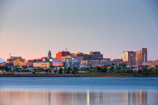 Portland, Maine, USA downtown skyline from Back Cove