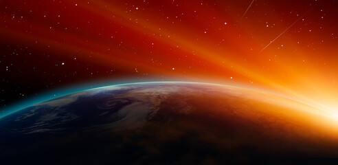 Fototapeta Planet Earth with a spectacular sunset Milky way galaxy in the background