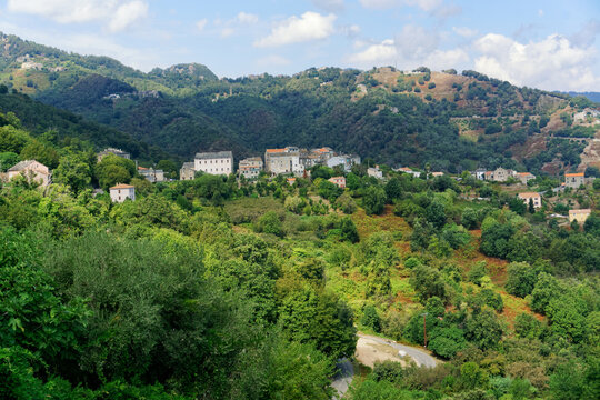 Mountain road to San Nicolao village in Corsica mountain