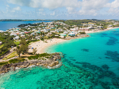 Aerial view of south coast of Bermuda with beaches and turquoise waters