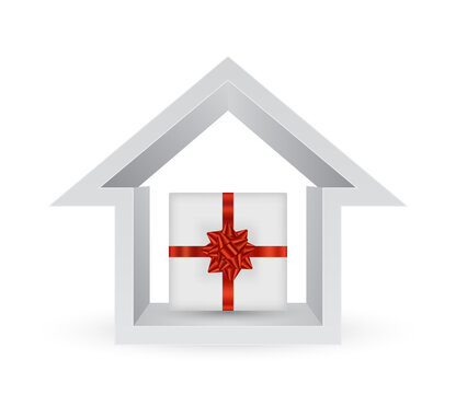 gift box in house 3d icon