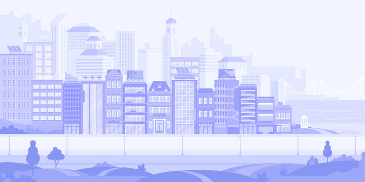 City street with skyscrapers, apartments and office buildings with park and rever bridge horizontal background. Abstract urban architecture modern cityscape panorama. Vector illustration in flat style