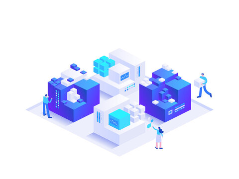 Blockchain ecosystem and digital asset exchange. People making crypto business using cryptocurrency technology, mining digital money. Vector character illustration isolated on white background