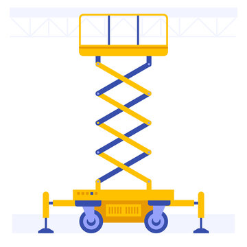 Scissors aerial lift platform with supports and tires. Professional building machines for construction, lifting group workers for outdoor application. Vector illustration isolated on white background
