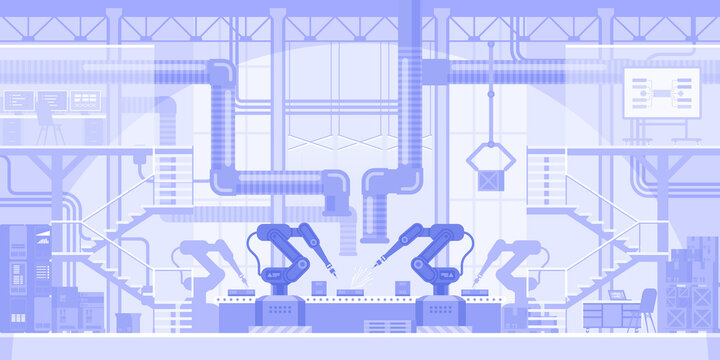 Automated production line horizontal background. Robotic arms making products on conveyor belt. Innovation manufacturing with robots machinery. Abstract industrial panorama. Vector illustration