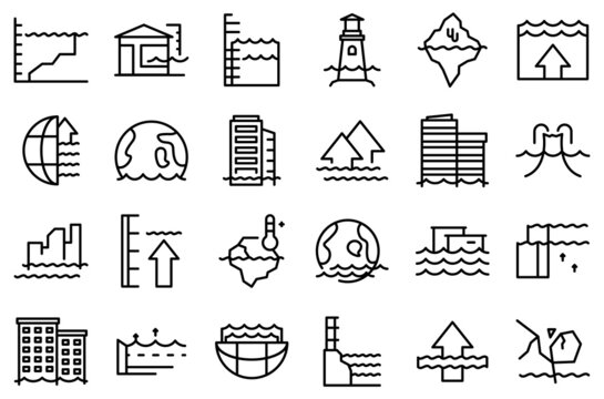 Sea level rise icons set outline vector. Water nature. Climate disaster