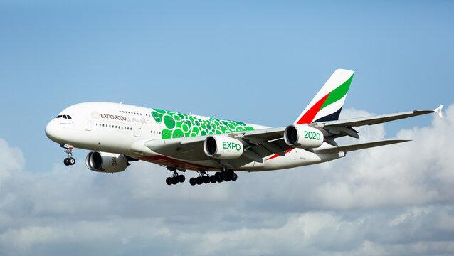 EL PRAT DE LLOBREGAT, SPAIN - JANUARY 23, 2020: Emirates airbus A6-EOB with bespoke green livery dedicated to Expo 2020 Dubai landing in Barcelona-El Prat Airport