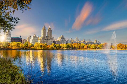 Central Park in autumn  in midtown Manhattan New York City
