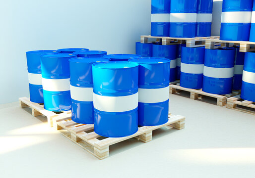 Barrels for chemistry. Plastic barrels on wooden paddons. Several pallets with chemical products. Blue metal barrels. Chemical industry warehouse. Casks for toxic products. 3d rendering.