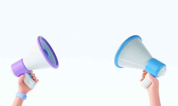 3D Cartoon hand holding megaphone on isolated white background with copy space. 3d render illustration