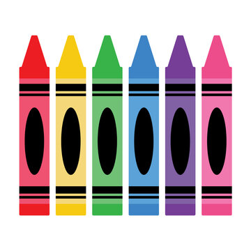 Vector Set of Crayons on White Background