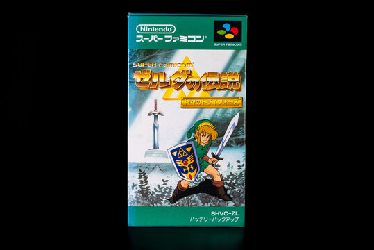 Fukuoka, Japan - september 13, 2021 : The Legend of Zelda A Link to the Past released in 1991 for nintendo super famicom isolated on black background
