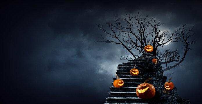 Halloween image with pumpkins . Mixed media