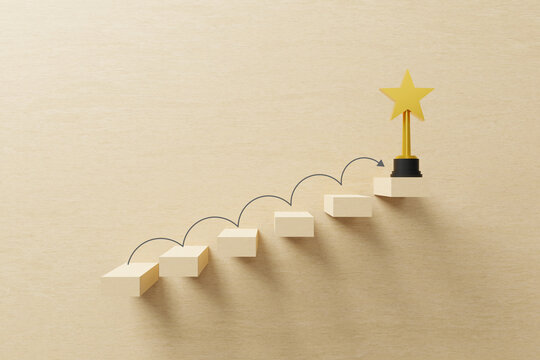 Growth or increase design concept. Cube block staircase moving step growing up to target and award trophy on top. Success achievement or goal business motivation. 3D illustration.
