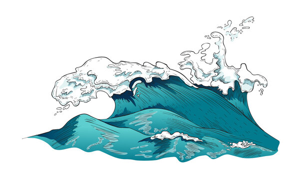 Turbulent streams of water with large waves, vector illustration isolated.