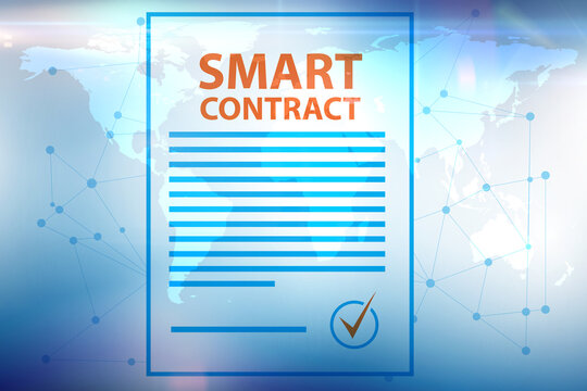 Smart contract as illustration of blockchain concept