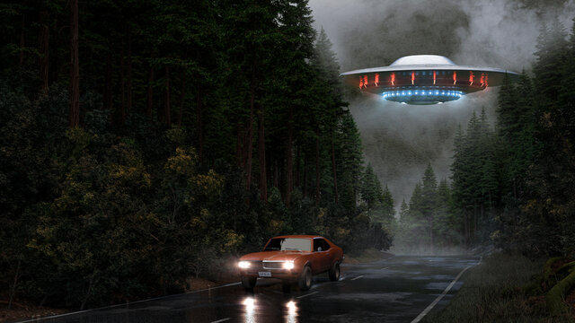ufo with glowing blue and red light flying over a forest street on a rainy day and car escaping on a wet road to not be abducted by aliens - concept art - 3D rendering