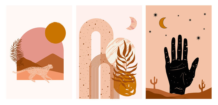 Collection of Modern Arts posters with abstract shape, animals, plants. Aesthetic Modern Art, Boho Decor, Minimalist Art. Editable Vector  contemporary poster illusration.