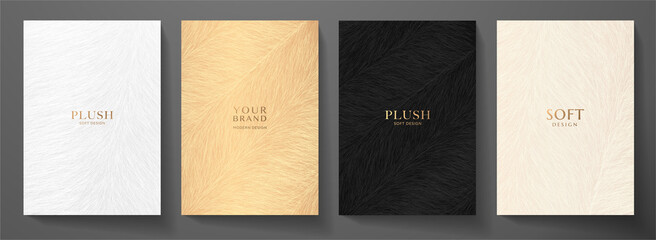 Abstract plush (fur) cover design set. Creative fashionable background with gold, black line pattern. Trendy vector collection for catalog, brochure template, magazine layout, beauty booklet