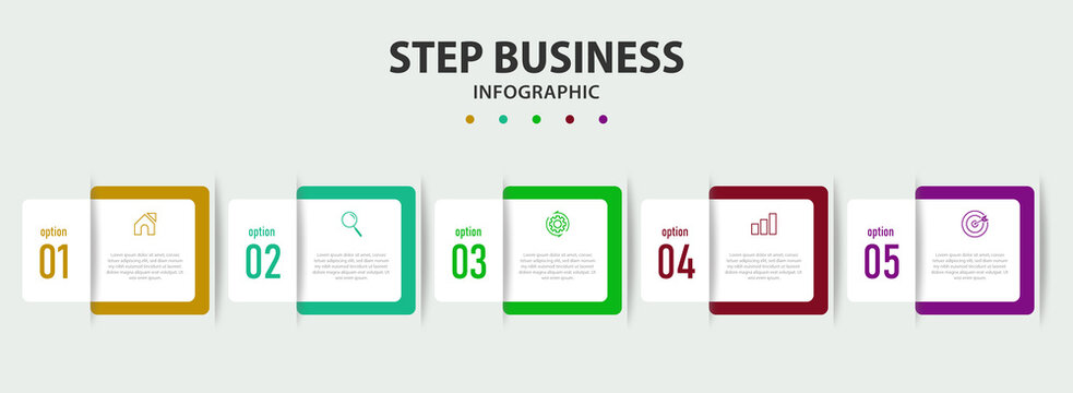 step business infographic design can be used for work flow layout, diagram, annual report.