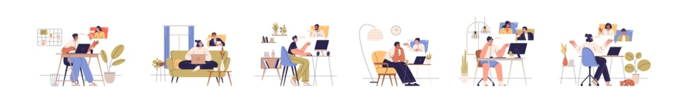 People with computers during online business communication at remote work. Set of man and woman with laptops at virtual video conference calls. Flat vector illustration isolated on white background