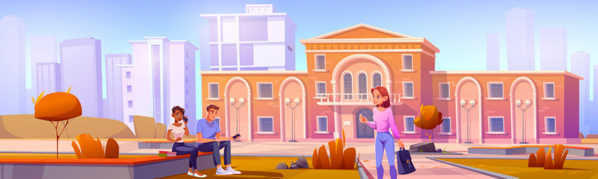 University campus or library facade with students diversity. Multiracial young men and women with books and smartphones communicate at high school building front yard, Cartoon vector illustration