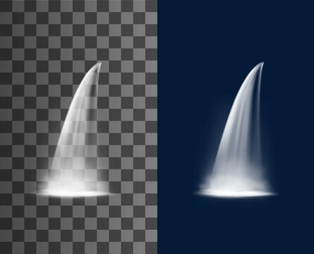 Waterfall cascade realistic water streaming from mountain or falling from cliff with fog, forest clean and natural spring water 3d vector cascades. Garden or river waterfall isolated transparent jets