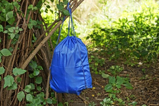 one full blue backpack bag hanging on gray bush branches with green leaves in nature