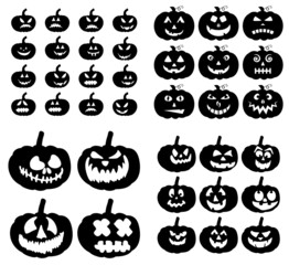 Zestaw sylwetki dyni upiorny uśmiech. Jack-o-lantern rzeźbione mimikę dla karty halloween lub zaproszenia. Ilustracja wektorowa na białym tle.