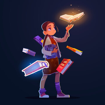 Girl with flying books with magic glow and sparkles. Vector cartoon fantasy illustration of happy child character and books with mystic shine isolated on dark background
