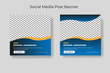 Fototapeta School education admission social media post & web banner template obraz