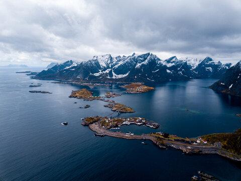 Famous tourist attraction fishing village on Lofoten Islands.