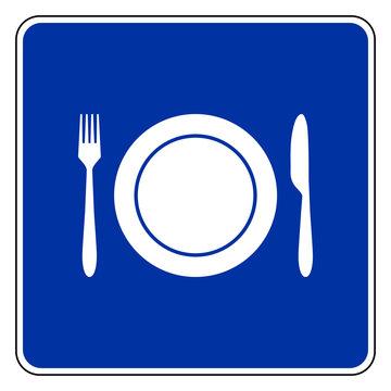 Besteck und Schild