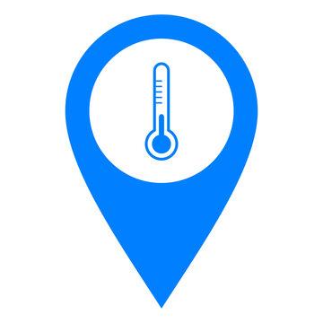 Thermometer und Kartenmarkierung