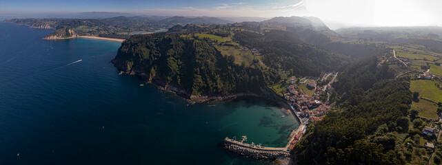 Fototapeta  aerial view of the spectacular town of Tazones, Asturias. Spain obraz