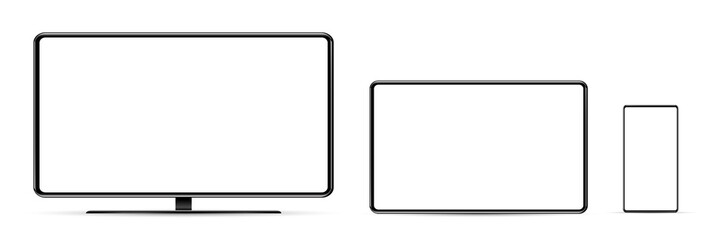 Fototapeta Device screen mockup. Smartphone, tablet, and monoblock monitor, with blank screen for you design. PNG.  obraz