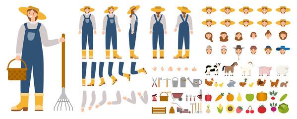 Obraz Young female farmer constructor set. Person working on a farm. - fototapety do salonu