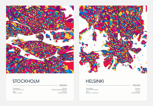 Color detailed road map, urban street plan city Stockholm and Helsinki with colorful neighborhoods and districts, Travel vector poster