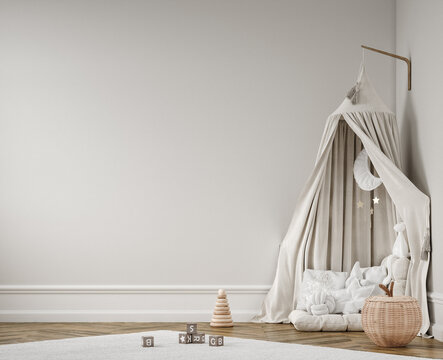 Wall mockup in children room, Scandi-Boho style interior in neutral colors, 3D render