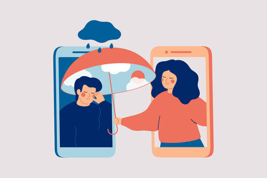Online therapy. Woman supports man with psychological problems. Girl comforts her sad male friend over the phone. Counselling for people under stress and depression over online services. Vector