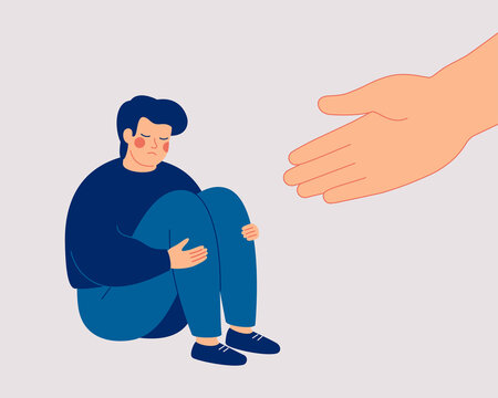 Human hand helps a sad young man to get rid of anxiety. The counselor supports the boy with psychological problems. Mental health aids and medical help for people under depression. Vector illustration
