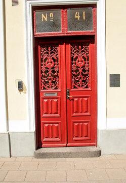 red door in the city