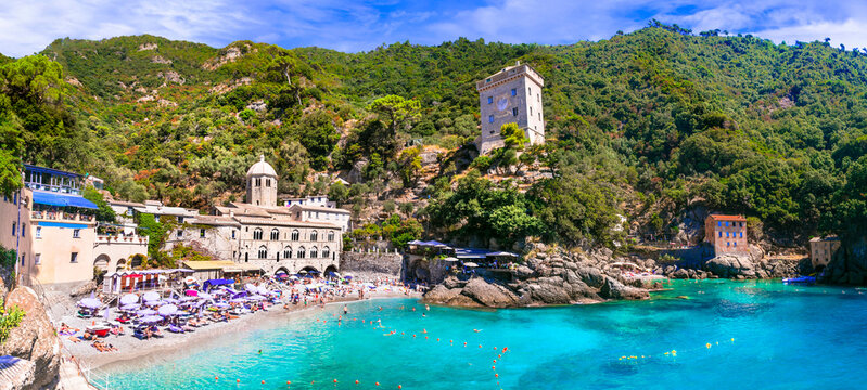Best beaches of Italy - scenic small beach and  San Fruttoso monastery (abbey), popular tourist destination in Liguria