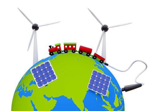 Erde mit Windkrafträdern, Solarzellen und ein großer Spielzeug Zug mit Stromstecker.