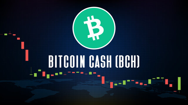 abstract futuristic technology background Bitcoin Cash (BCH) coin digital cryptocurrency and market graph volume indicator