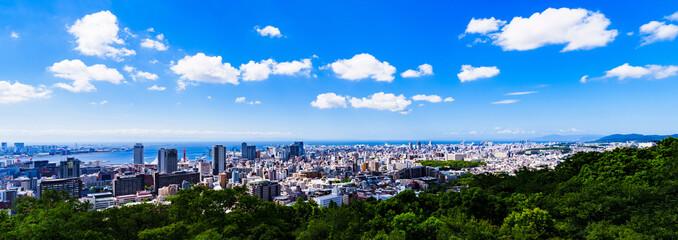 神戸市 俯瞰 パノラマ 【 夏 の 都市風景 】