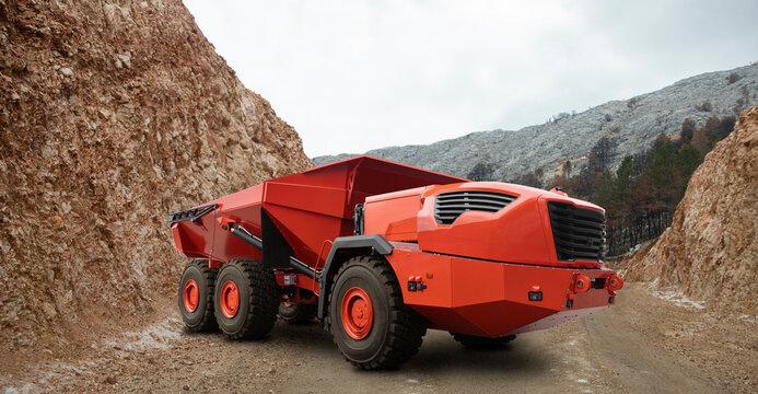 Autonomous self-driving truck on mountain road construction