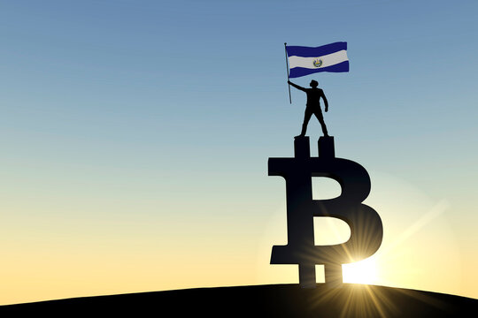 Person waving an el salvador flag standing on top of a bitcoin cryptocurrency symbol. 3D Rendering